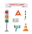 Traffic road police symbols set flat elements vector image