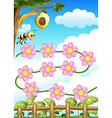 A bee and flowers vector image vector image