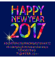 Patched shiny Happy New Year 2017 greeting card vector image