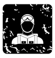 Paratrooper icon grunge style vector image