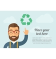 Man pointing the recycle icon vector image