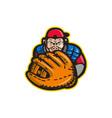 Chimpanzee Baseball Catcher Glove Retro vector image