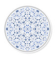 decorative plate with blue circular pattern vector image
