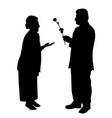 elderly man gives a rose to elderly woman vector image