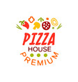 flat pizza house logo creative design element with vector image