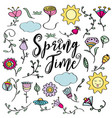 hand drawn doodle set of spring flowers vector image