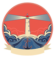 Lighthouse label with anchor and rope frame vector image