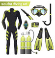 realistic snorkeling and scuba diving equipment vector image