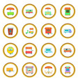 street food kiosk vehicle icons circle vector image
