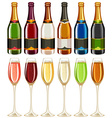 Wine glasses and bottle in many colors vector image
