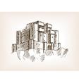Medieval castle sketch style vector image
