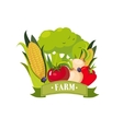 Set Of Fresh Vegetables With Banner Saying Farm vector image