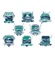 fishing sport club emblem with trophy fish vector image vector image