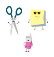 set of funny characters from eraser scissors vector image