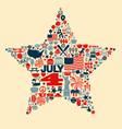 4th of July icons symbols collage T-shirt design vector image