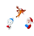 Santa deer and snowman with blank sign vector image vector image