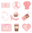 Breast cancer icons vector image