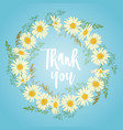 card with chamomile flowers wreath vector image