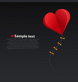 heart kite on dark background vector image