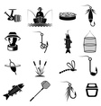 set of icons on fishing theme vector image