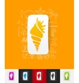 shell paper sticker with hand drawn elements vector image