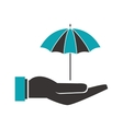shelter hand with umbrella icon vector image