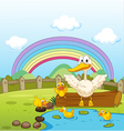 Ducks and a rainbow vector image vector image