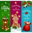 Christmas New Year banners set vector image