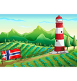 The flag of Norway at the farm vector image vector image