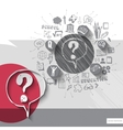 Paper and hand drawn question mark emblem with vector image vector image