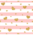 Golden hearts pink stripes seamless pattern 1 vector image