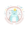 King Cat Fairy Tale Character Girly Sticker In vector image
