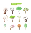 Set of Isolated Trees Design Flat vector image
