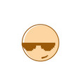 smiling cartoon face wear sunglasses positive vector image
