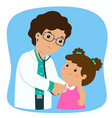 xalittle girl on medical check up with male vector image