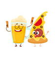 funny beer mug and yummy pizza slice characters vector image