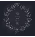 Hand drawn wedding wreath on chalkboard vector image vector image