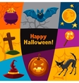 Happy halloween greeting card with characters and vector image