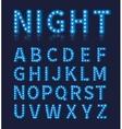 Vintage blue light bulb lamp font or alphabet vector image vector image