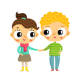 Cartoon girl and boy holding hands cute characters vector image