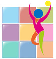 Gymnastics with ball icon in colors vector image