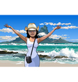 cartoon girl in a hat standing with arms raised vector image