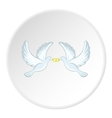 Doves with rings icon cartoon style vector image