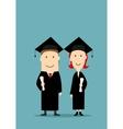 Graduates in black graduation mantle and cap vector image