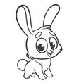 happy blue rabbit cartoon isolated vector image
