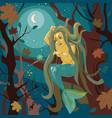 mermaid on a tree vector image
