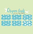 set of origami bird seamless pattern collection vector image