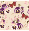 Vintage pansy seamless vector image