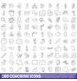 100 coaching icons set outline style vector image