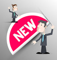 New Label Paper New Tag with Businessmen vector image